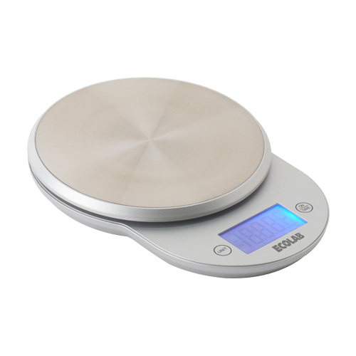 Features a traditional scale design upgraded with a stainless steel platform. Easy to use, with a backlit display and self-explanatory buttons for on/off, tare, and unit selection.